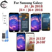 LCD สำหรับ Samsung Galaxy J4 + J415F LCD J6 + J610FN จอแสดงผล J4 J400 J6 J600 2018 TOUCH Digitizer ชุด J4 J6Plus LCD กรอบ