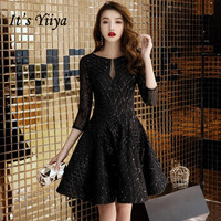 It's YiiYa Cocktail Dress O neck Shining Fabric Illusion Back Short Party Dress Half Sleeve Little Black Formal Ball Gown E009
