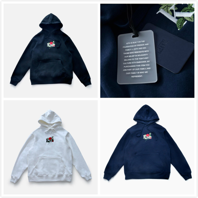Kith Hoodie Men Women Embroidered Roses Streetwear 1:1 Best Quality Casual Sweatshirts Men Fashion KITH Pullover Hoodies