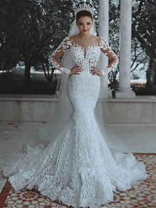 Wedding-Dress Crystals Saudi Arabic Lace Long-Sleeve Mermaid Luxury Dubai Illusion Beads