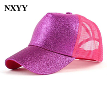 NXYY Pink Glitter Ponytail Baseball Cap Women Snapback Dad Hat Mesh Trucker Caps Messy Bun Summer Female Adjustable Hip Hop Hats ponytail baseball cap men cotton retro baseball cap women baseball hat adjustable snapback caps dad hats messy mesh trucker hat