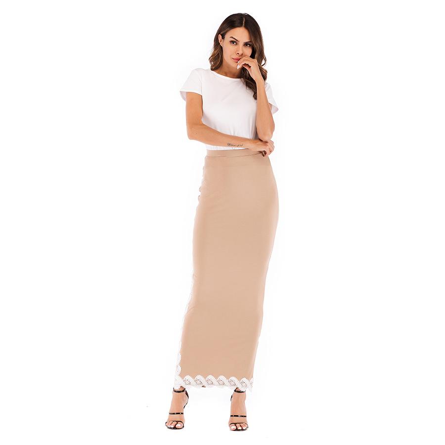 5 Colors Abaya Muslim Pencil Skirt Women Elastic Maxi Middle East Bodycon Modal Skirts High Waist Long Kaftan Islamic Clothing