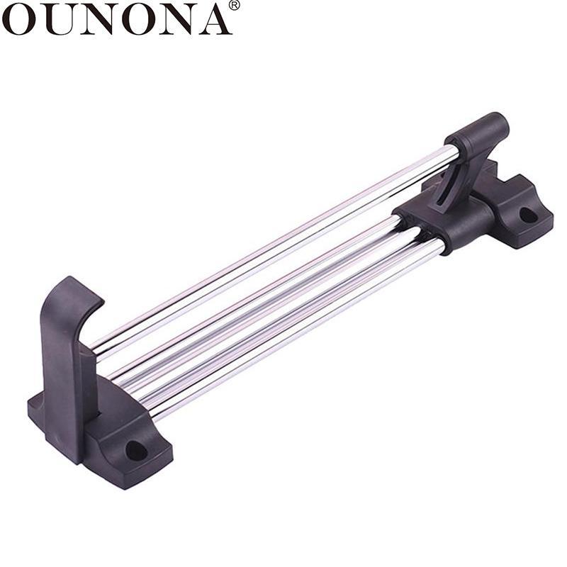 OUNONA Stainless Steel Retractable Drying Racks Wardrobe Rail Clothes Hanger Towel Coat Racks Closet Rod  Laundry Drying Rack