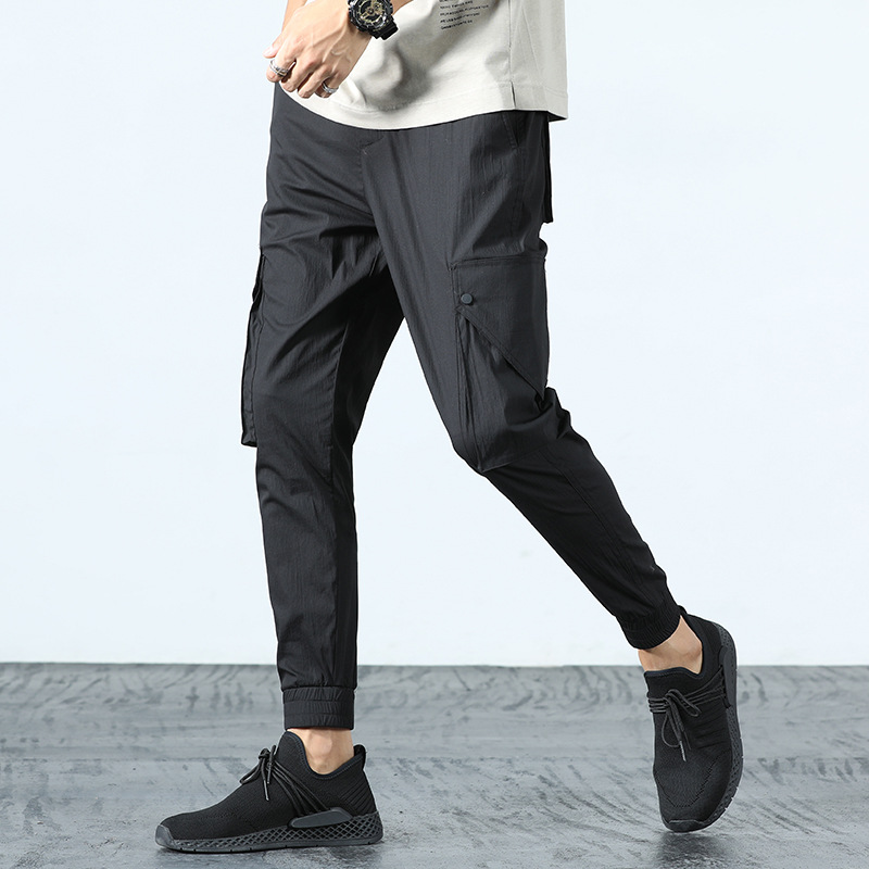 Spring New Style Korean-style Elasticity Casual Skinny Pants Capri Men Fashion Slim Fit Casual 9 Points Ankle Banded Pants 560