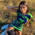 Hugcitar 2020 tie dye streifen kurzarm sexy mini kleid sommer frauen mode streetwear nettes hemd kleid grün sommerkleid