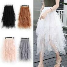 Midi Skirt Tutu Mesh Tulle Asymmetrical Ruffles Pink Black Long White Fashion Women High-Waist