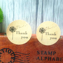 100pcs/pack Dandelion Thank You Leather Color Seal Sticker Gift Label Stationery Supplies