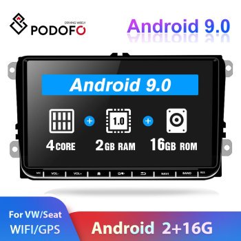 Podofo 2din Android Autoradio Car Radio GPS Multimedia Player For VW SKODA Octavia GOLF 5 6 PASSAT B6 JETTA POLO SEAT TIGUA image