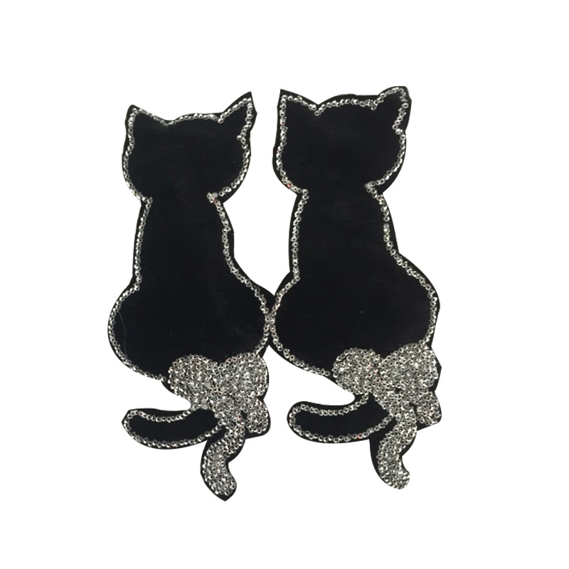 Twins Sequined Cat Pattern Patch Garment Accessories Used In T-shirts And Denim Jackets And Jeans