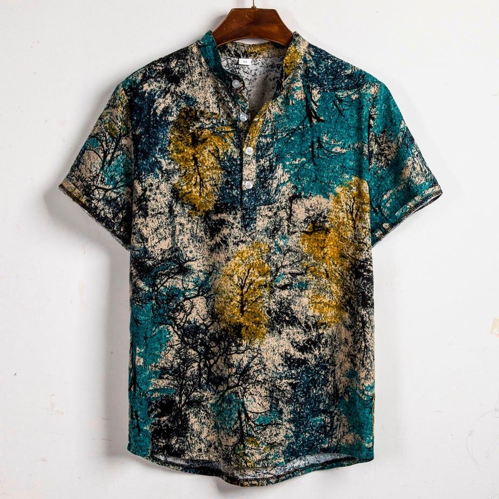Print Hawaiian Shirt Men 2019 Fashion Summer Short Sleeve Shirt Men Casual Vacation Tops Shirts For Men Chemise Homme  6.27