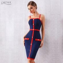 Adyce 2020 yeni yaz mavi Bodycon bandaj elbise kadınlar zarif spagetti kayışı gece kulübü ünlü pist parti elbise Vestidos