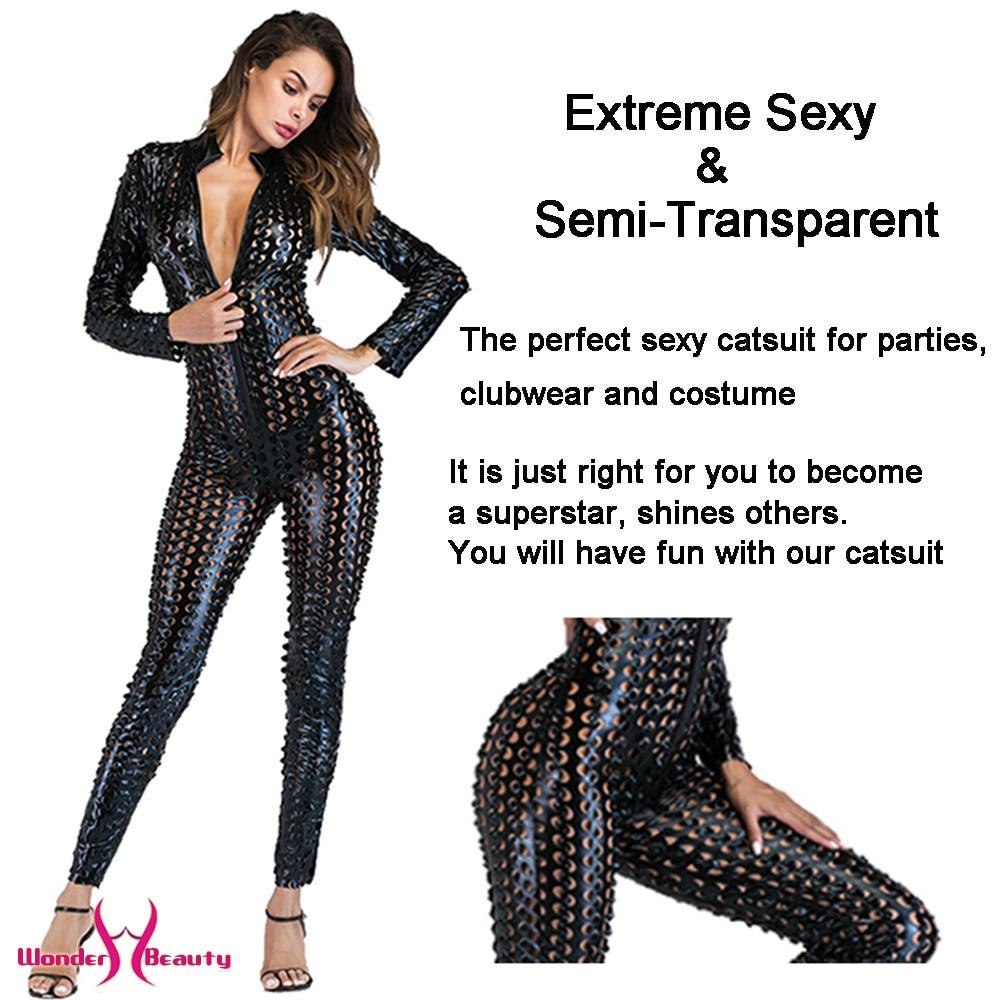 faux leather catsuit catwomen shiny black gold silver metallic leather jumpsuit wetlook pu leotard bodysuit bar night clubwear (9)