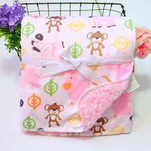 New Arrive Baby Blanket Double Layer Coral Fleece Cartoon Blankets Infant Swaddle Stroller Wrap For Newborn Baby Bedding Blanket high quality baby blanket infant bebe flannel swaddle envelope stroller cartoon blanket with toy newborn baby bedding blankets