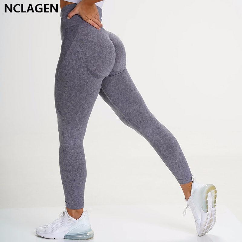 Sem costura leggings esporte feminino aptidão empurrar para cima calças de yoga cintura alta agachamento à prova treino correndo esportiva ginásio collants nclagen