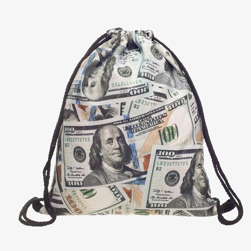 Novo 3d impresso saco de cordão dólares