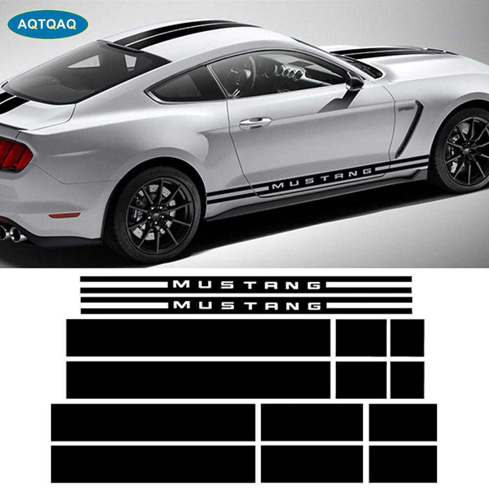 1Set Car Hood Roof Rear Side Skirt Racing Stripe Body Kit Decal Car Stickers For Ford Mustang 2015-2017
