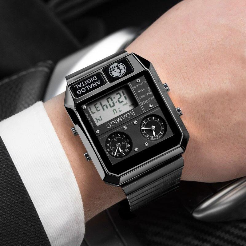 Мужские часы BOAMIGO, спортивные часы, мужские Модные Военные цифровые аналоговые светодиодный кварцевые наручные часы, мужские часы Кварцевые часы      АлиЭкспресс