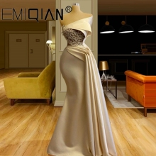 Formal-Dress Robes Evening-Dresses Champagne Mermaid Longue Beads Arabic NEW Ruched Vestiti