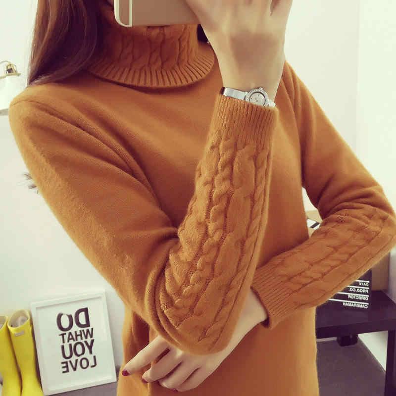 Hot Herfst Winter Vrouwen Truien en Pullovers Mode coltrui Vrouwen twisted verdikking slank trui