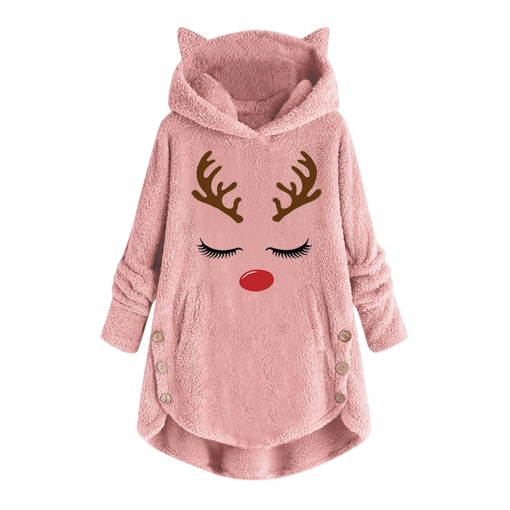 Christmas Sweatshirt With Deer Ears Hoodie Womans Fleece Jackets Keep Warm Long Sleeve Plush Pullover Hoodies Plus Size Jackets