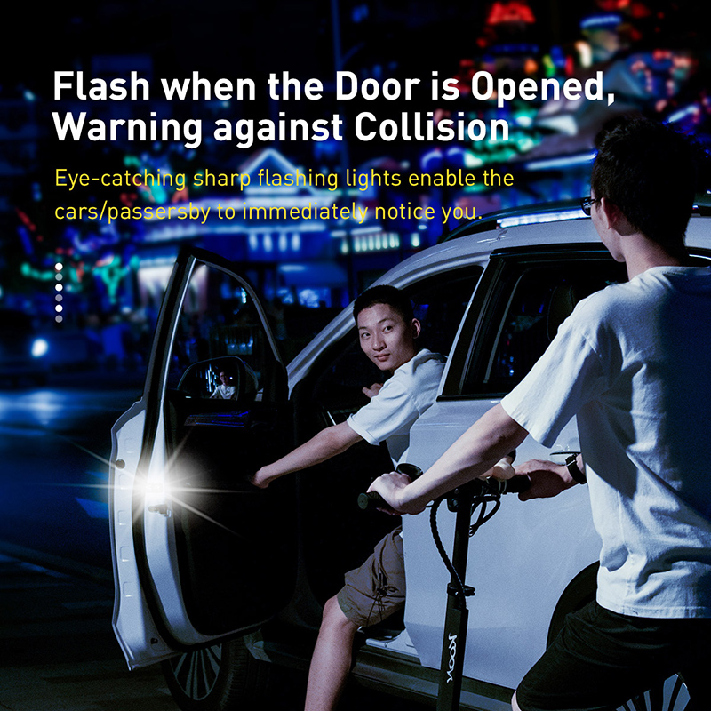Image 2 - Baseus 2pcs 6 LEDs Car Openning Door Warning Light Safety Anti collision Flash Lights Wireless Magnetic Alarm Signal Lamp-in Decorative Lamp from Automobiles & Motorcycles