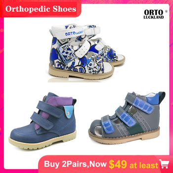 Ortoluckland kids genuine leather shoes boys orthopedic sandals for children blue closed toe hook loop fasten casual shoes