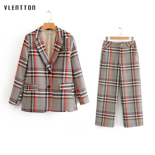 2020 Spring Autumn Vintage Plaid Women's Pants Suit Single Breasted Blazer Jacket Tops+Zipper Trousers Office Lady Two Piece Set