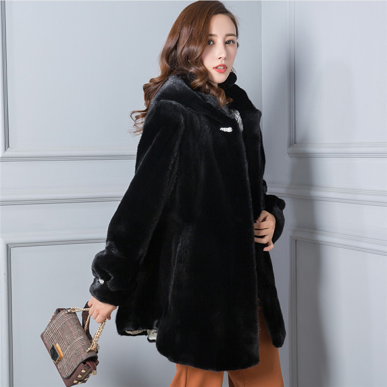 Mink Real Natural Coat Female Luxury Fur Coats Winter Jacket Women Hooded Warm Long Jackets Plus Size Manteau Femme MY S S