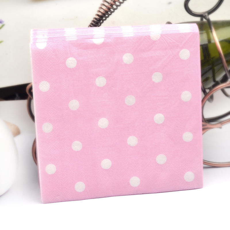 Factory Sale Color Polka Dot Printed Napkin Kleenex Restaurant Hotel Paper Disposable Napkin Wood Pulp Paper