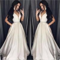 Plus Size Prom Dresses White A Line Floor length Long Formal Dress Evening Gown Robe De Soiree abendkleider 2019