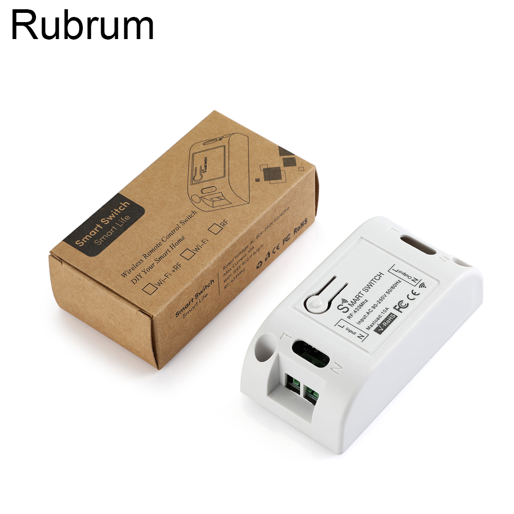 Rubrum 433Mhz AC 110V 220V 1CH RF Relay Receiver Module <font><b>Universal</b></font> Wireless <font><b>Remote</b></font> Control For Garage Door <font><b>Opener</b></font> Controller DIY image