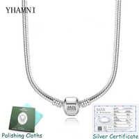 YHAMNI Original 925 Solide Silber Schlange Kette Halskette Sichere Ball Verschluss Perlen Charme Halskette Für Frauen Hochzeit Geschenk Schmuck P05