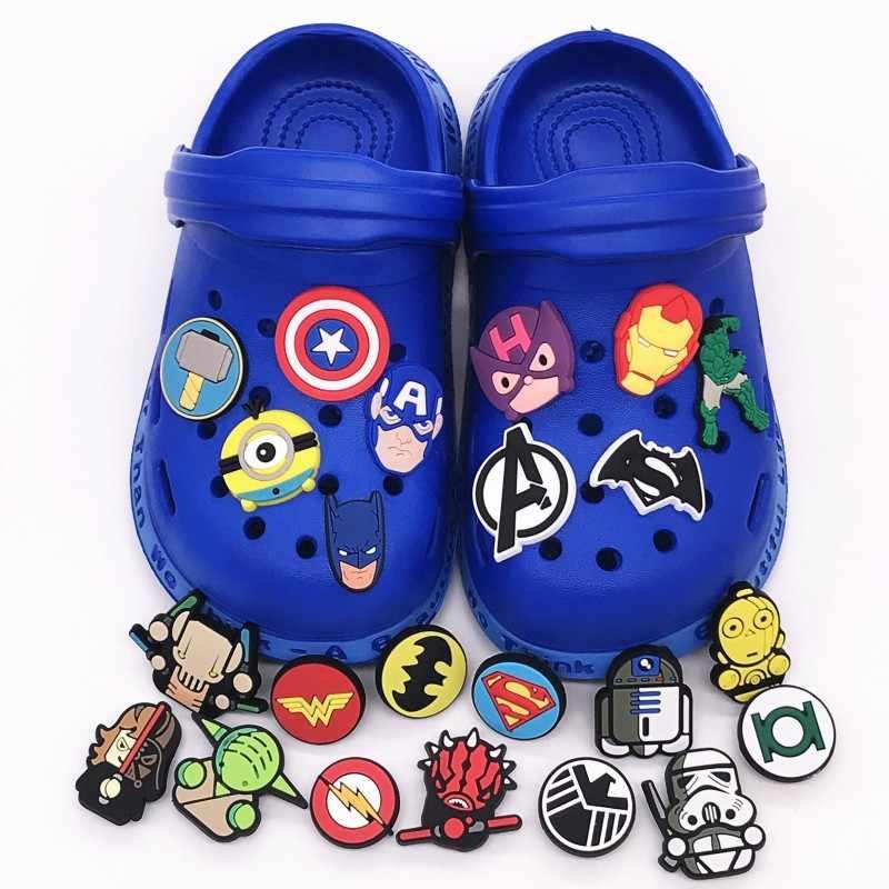1 CHIẾC PVC Giày Trang Trí Marvel Avengers Ngôi Sao Chiến Tranh Giày Quyến Rũ Phụ Kiện cho Trẻ Em Ủng Hộ Đáng Tặng Phù Hợp Với Ban Nhạc Jibz croc