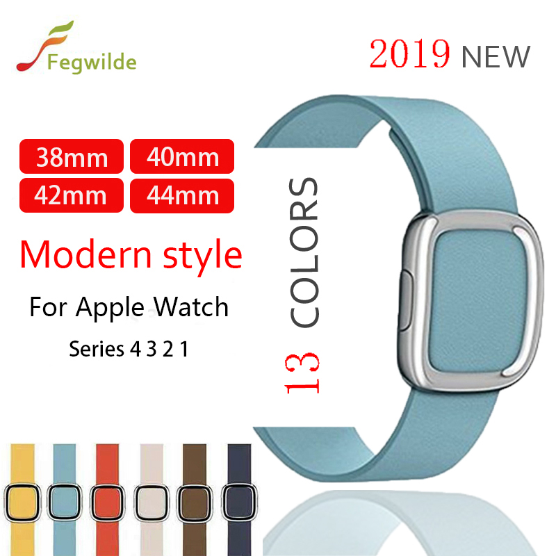 strap for apple watch band 4 44mm 40mm iwatch 5 4 3 Modern Buckle Genuine Leather loop band 42mm 38mm bracelet watch Accessories | Watchbands