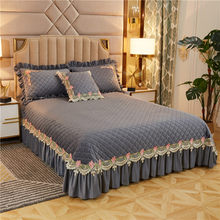 In Pile di Velluto Caldo Morbido Trapunta Set Grigio Blu Queen Re Premio 3/5Pcs Copriletto Elegante Dell'increspatura Biancheria da Letto Floreale set Copertura Del Cuscino Shams(China)