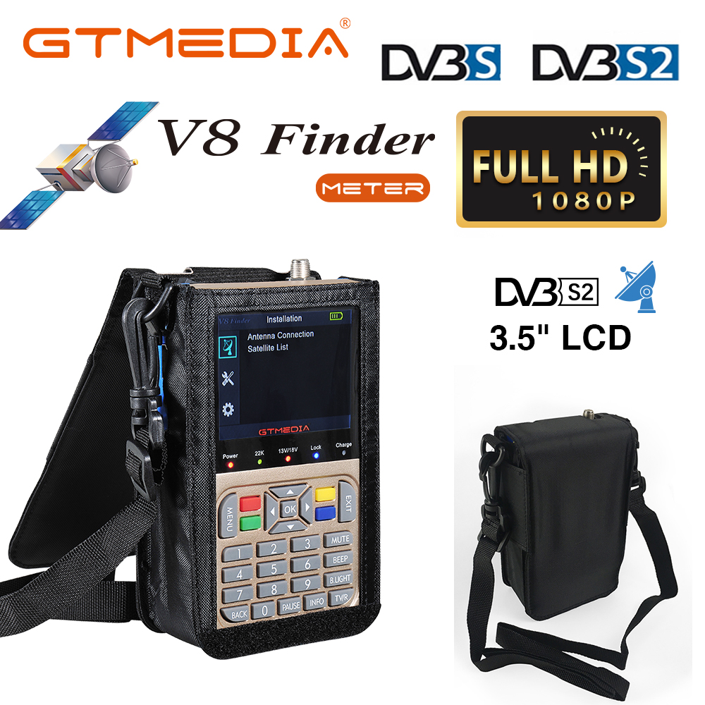 GTMEDIA DVB-S2/S2X V8 Finder HD Digital Satellite Finder Meter Full 1080P HD FTA 3.5 Inch LCD Display SatFinder Ship From Brazil