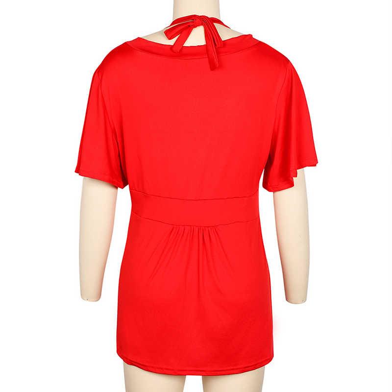 홀터 플러스 사이즈 6XL 튜닉 여성 t-셔츠 v-넥 반팔 하이 웨스트 여성 t-셔츠 2020 여름 솔리드 캐주얼 레이디 튜닉