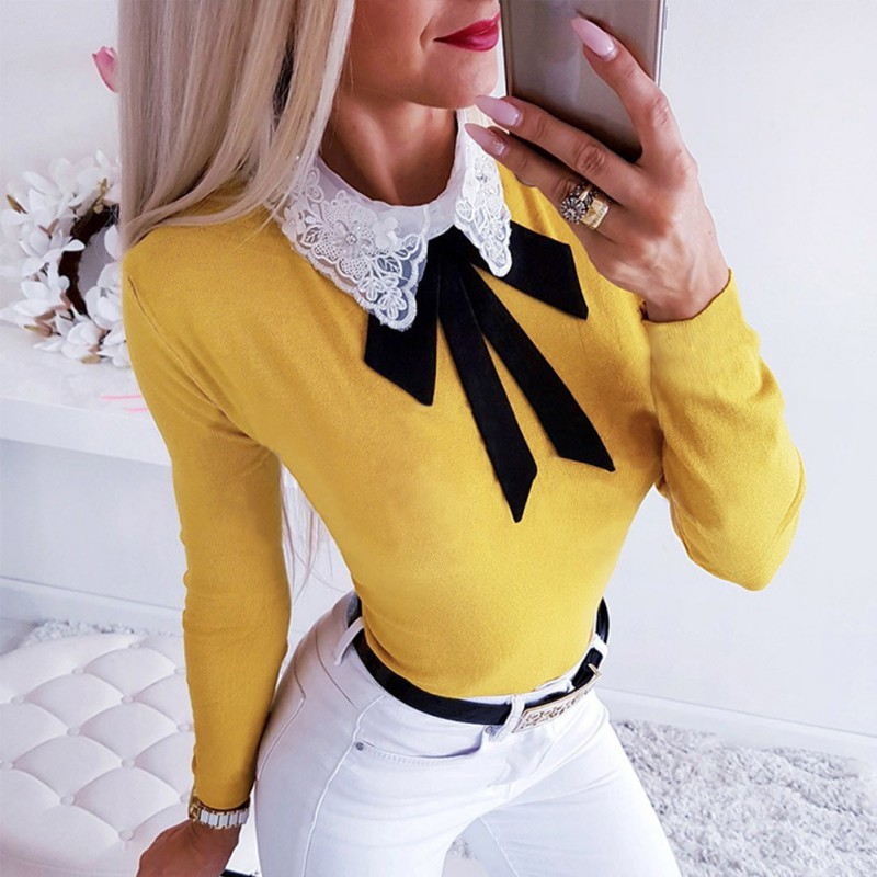 Fashion Blouse Women Elegant Embroidery Floral Side Shirt Pussy Bow Lapel Long Sleeve Vintage Slim Blouse Solid Tops