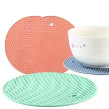 Venda quente multi-função coaster 18cm redondo calor-resistente silicone coaster deslizamento anti-quente almofada pote titular mesa de cozinha placemat