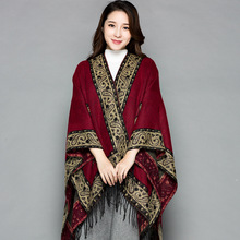 Ethnic-Style Shawl Women's Spring And Autumn Nepal Pakistan Slit Women's Tibet Travel Cloak Scarf Thick Air Conditioner Mantle