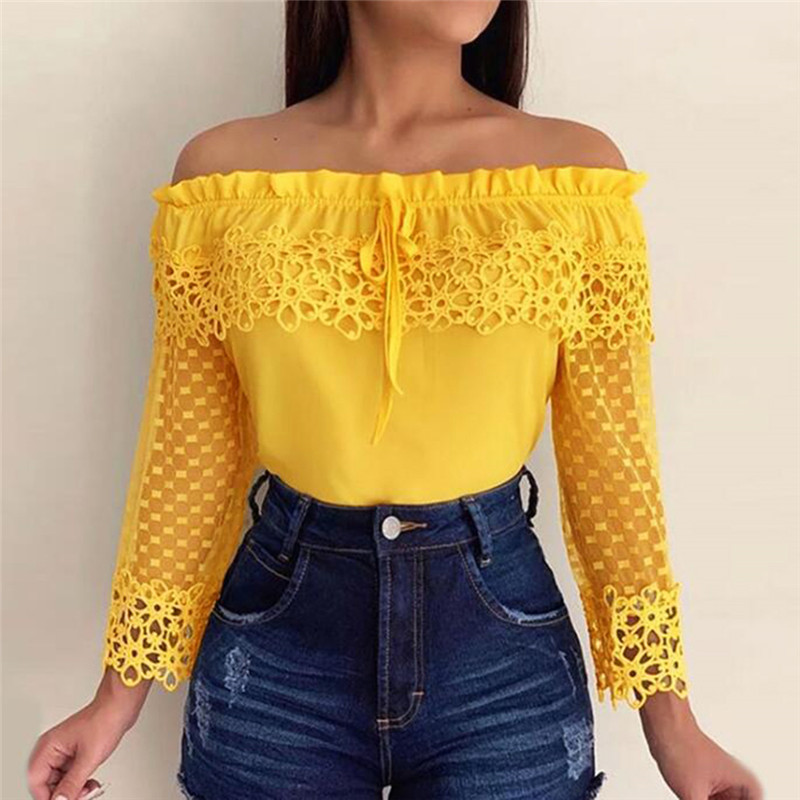 Women's Off Shoulder Blouse Slim Lace Loose Flare Sleeve Shirt Sexy Strapless Fashion Splice Mesh Regular Sleeves Ladies Shirt