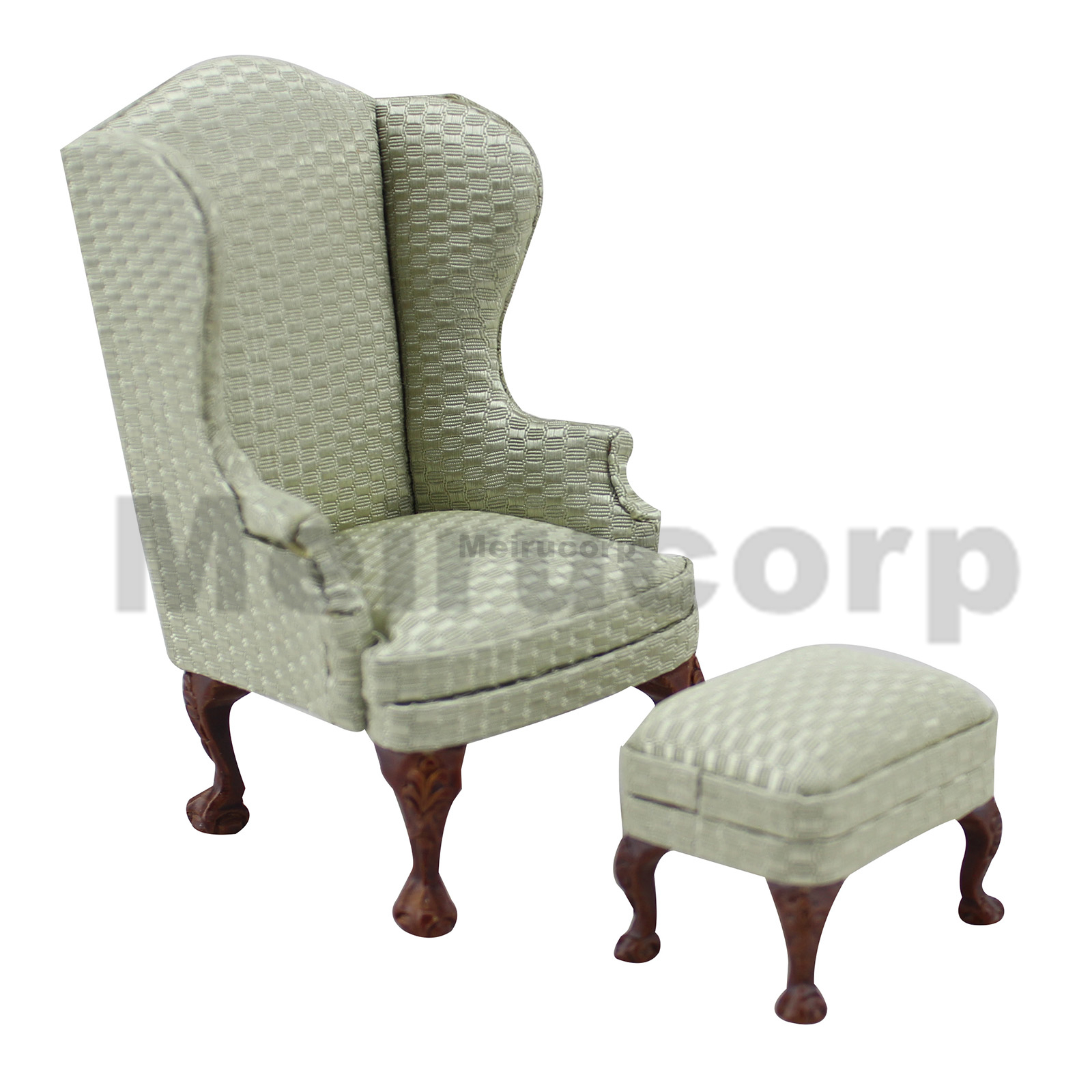 Dollhouse 1:12 Scale Miniature Wood Crafts Furniture  Elegant Fabric Chair And Ottoman