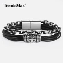 Men's Leather Bracelet Stainless Steel Multilayer Braided Magnetic Buckle Bracelets for Woman Male Jewelry DLB137(Hong Kong,China)