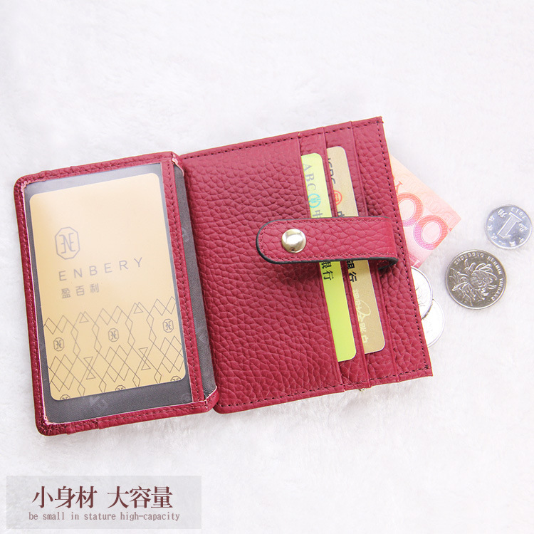 New Style Korean-style Cowhide Genuine Leather Card Bag Multi-functional Fashion Organ Wallet Photo ID Holder Solid Color Card C