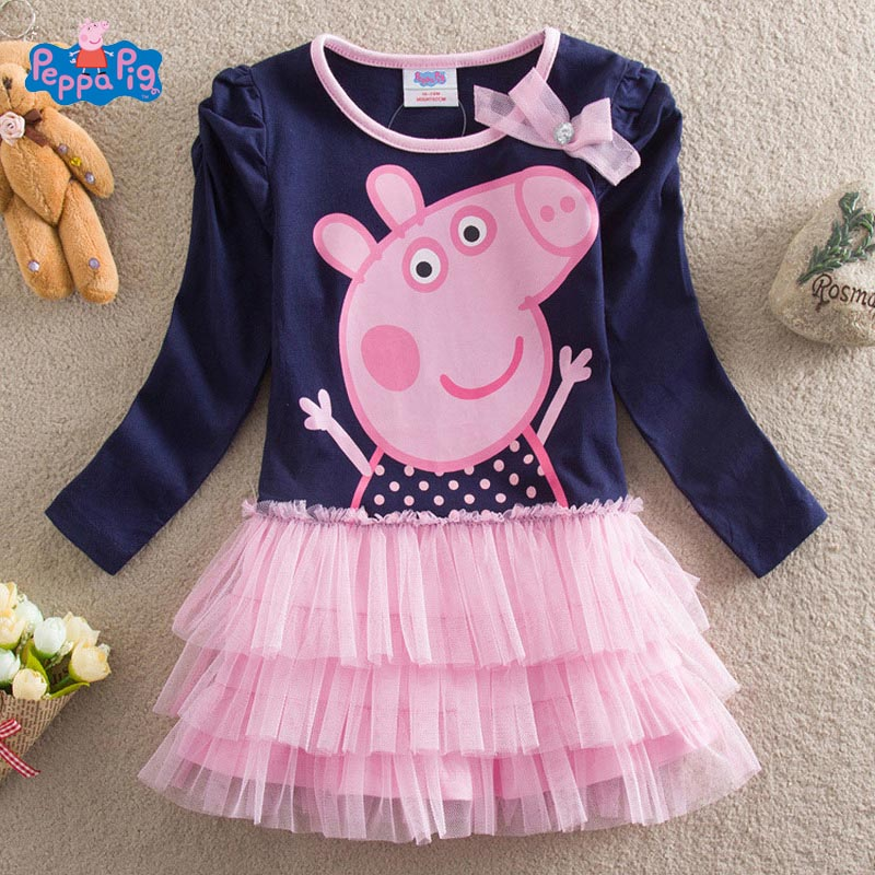 Peppa Pig Original Girls Skirts New Children's Clothing Cartoon Print Pleated Plush Cotton Short-sleeved Princess Cake Dress