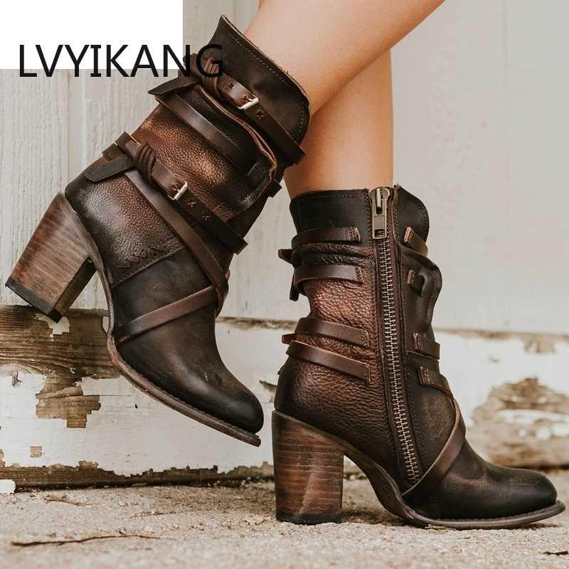 2019 femmes bottines bloc talons hauts Botas Zapatos Mujer rétro cuir hiver chaussures grande taille chaussons Cowboy bottes 35-43