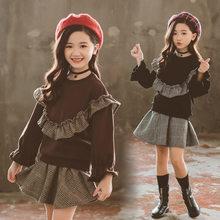 купить Children Clothing Set Autumn Teenage Girls Clothes Kids Sweatshirt + Plaid Skirt 2PCS Suits For Girl Clothes 4 5 7 9 11 13 Years дешево