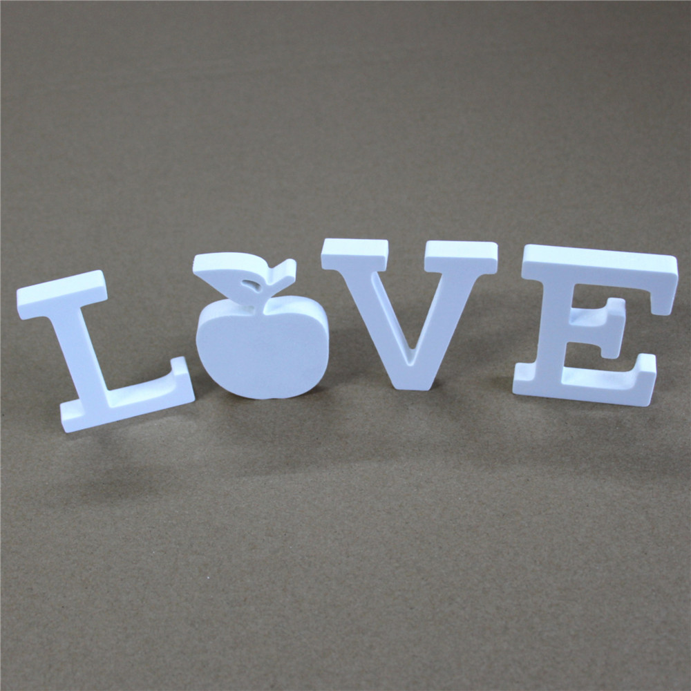 Купить с кэшбэком thick 15mm 1set White Wooden wood Letters LOVE & DIY Personalised Name Design Art Crafts of  Wedding Birthday Party Home Decor