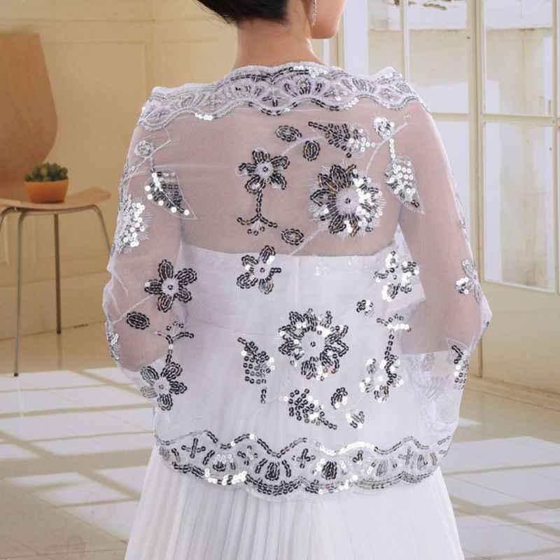 คุณภาพสูงใหม่ชุดเจ้าสาวผู้หญิง Cheongsam ผ้าคลุมไหล่สีขาวลูกไม้ปักปักเลื่อมยาวผ้าคลุมไหล่