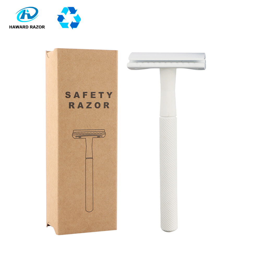 HAWARD Women's Hair Removal Razor Men's Double Edge Shaving Razor Fashion White Manual Safety Razor (20 Shaving Blades)